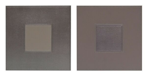 Faux Leather Stitch Set of 4 Square Placemats Reversible Grey  Fawn