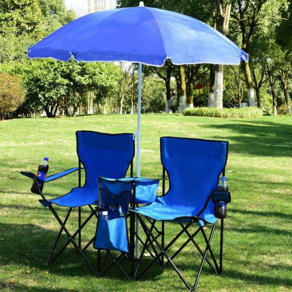 Foldable Picnic Beach Camping Double ChairUmbrella Table Cooler Fishing Fold Up