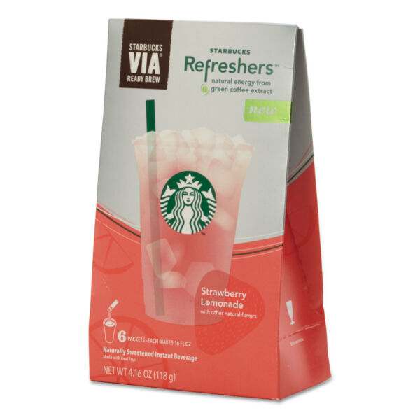 Starbucks VIA Refreshers Strawberry Lemonade 4.16 oz Pack 6Box 11036799