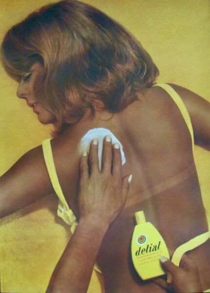 DELIAL tanning sun lotion Vintage 1969 Swiss advertising poster 36x51 RARE NM $550.00