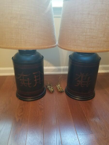 100 year old antique 1900 English Toleware Tea tin caddy lamps w Japanning