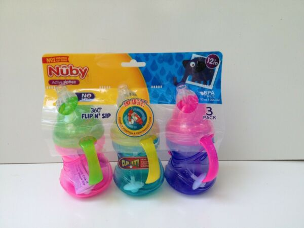 Nuby No-Spill Clik-It FlipN'Sip Cup with 360° Straw 3 Pack 10 OZ Active Sipeez
