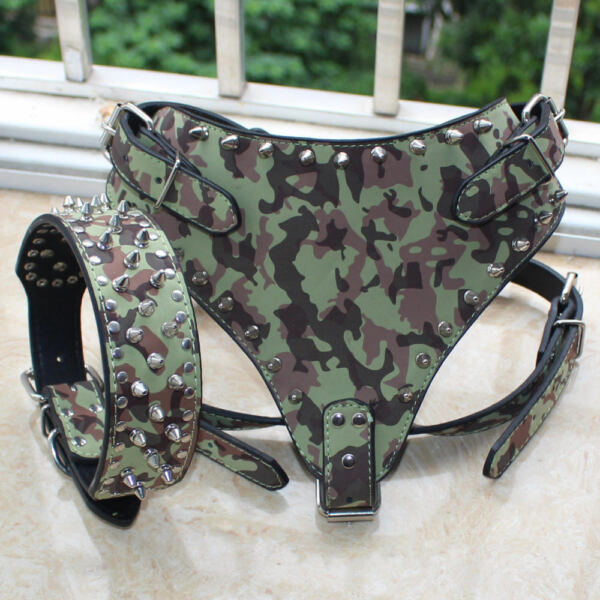 Grey Leather Dog Harness Collar Set Spiked Studded Pitbull Terrier Mastiff Corso GBP 27.99