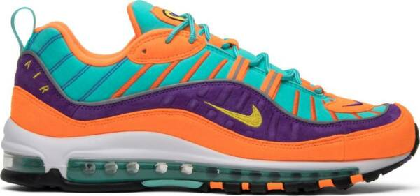 NEW NIKE AIR MAX 98 QS CONE TOUR YELLOW ORANGE HYPER GRAPE 924462-800