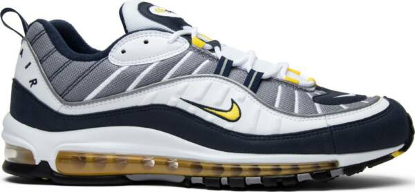 "Nike Air Max 98 ""Tour Yellow"" 640744 105 WHITE Blue Midnight Navy Size 8-13"