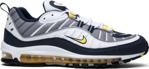 "Nike Air Max 98 ""Tour Yellow"" 640744-105 WHITE Blue Midnight Navy Authentic"