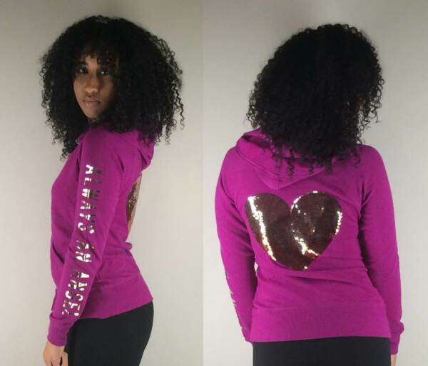 NEW Victoria's Secret Always An Angel BLING Purple & Gold Heart Jacket Hoodie S