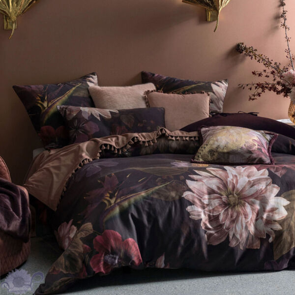 Linen House Neve Wine Quilt Cover Set Richly saturated shades of plum and wine AU $69.95