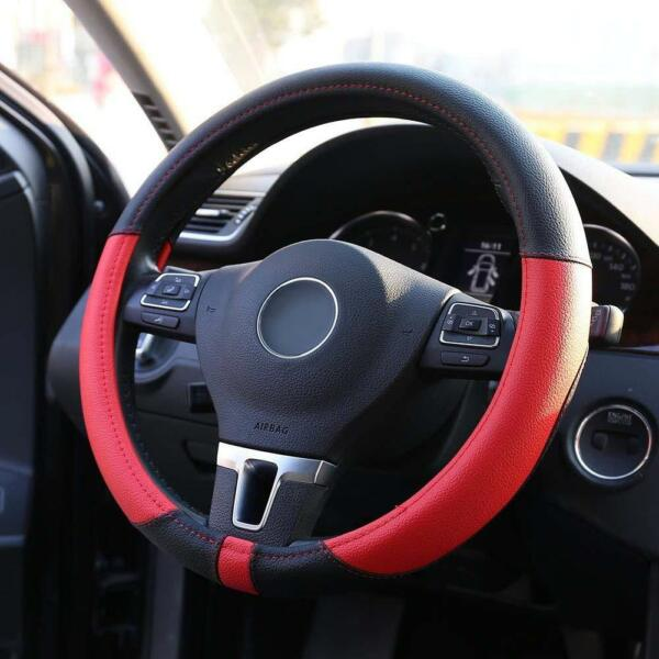 Auto Car Truck Microfiber Leather Steering Wheel Cover Protector Black + Red