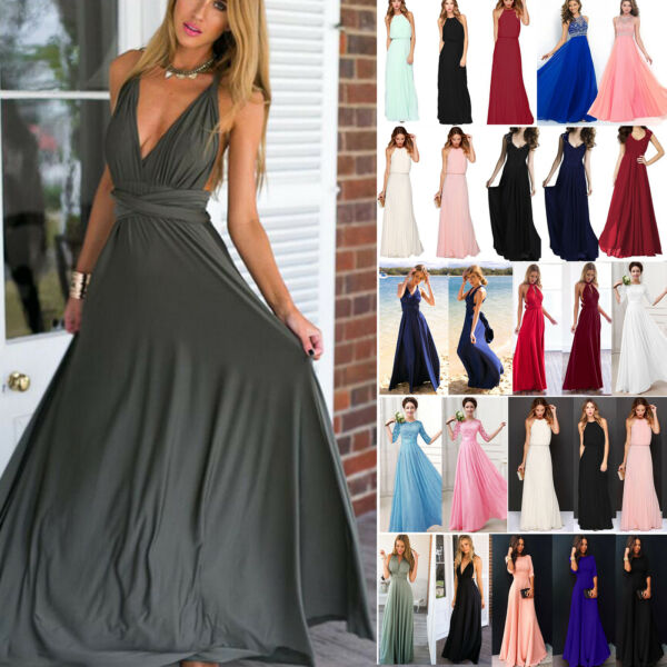 Women Long Lace Evening Formal Cocktail Party Ball Gown Bridesmaid Maxi Dress US
