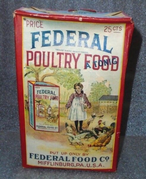 graphic old Federal Poultry Food Tonic box unopened