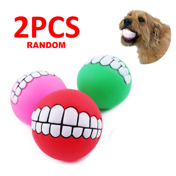 2PCS Pet Dog Ball Teeth Funny Silicon Toy Chew Squeaker Squeaky Sound Play Toys