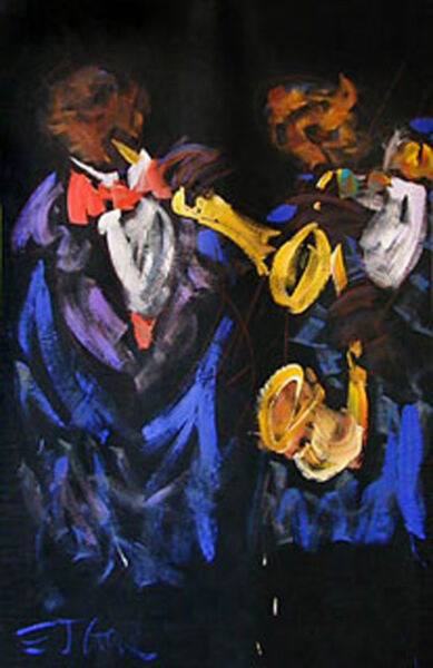 Famous E.J. Gold Jazz Art Backdrop Painting 7 x 11 foot Used with Celebrities