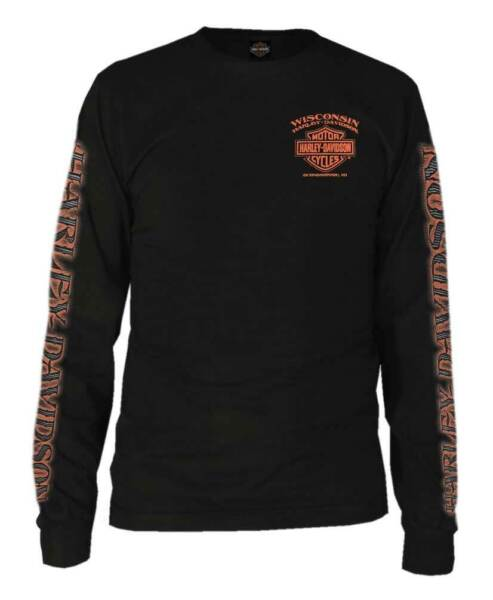 Harley-Davidson Men's Eagle Piston Long Sleeve Crew Shirt Black 30299947