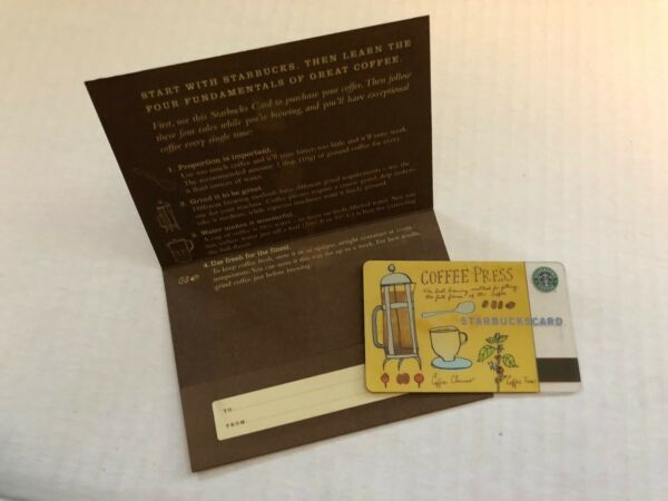 Starbucks 2003 Coffee Press card never swiped w sleeve