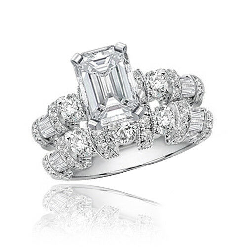 GIA certified Charming Diamond Wedding Ring Set 3.70 CTW Emerald cut 18K