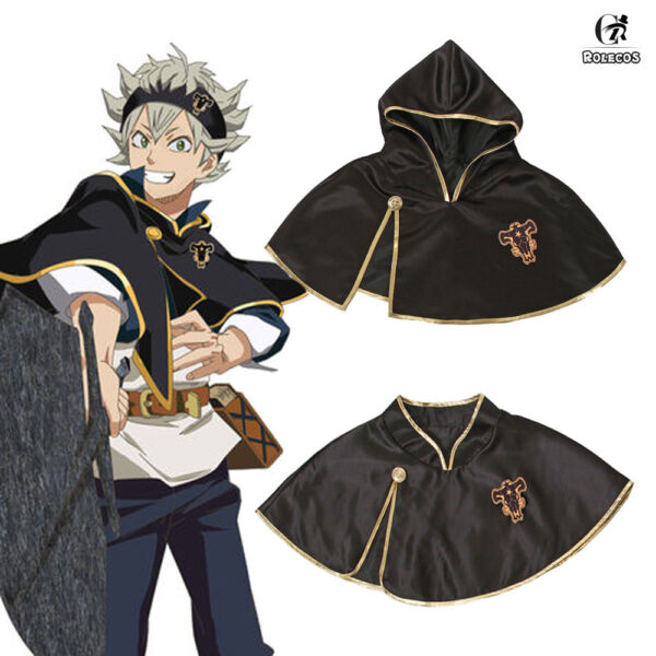 Cloak Black Clover Asta Outfit Black Bull Short Cape Cosplay Costume Unisex