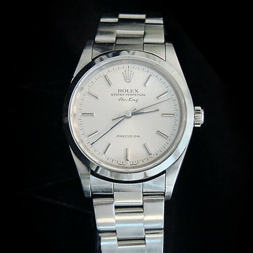 Rolex Air King Precision Mens Stainless Steel Watch Oyster Bracelet Silver 14000