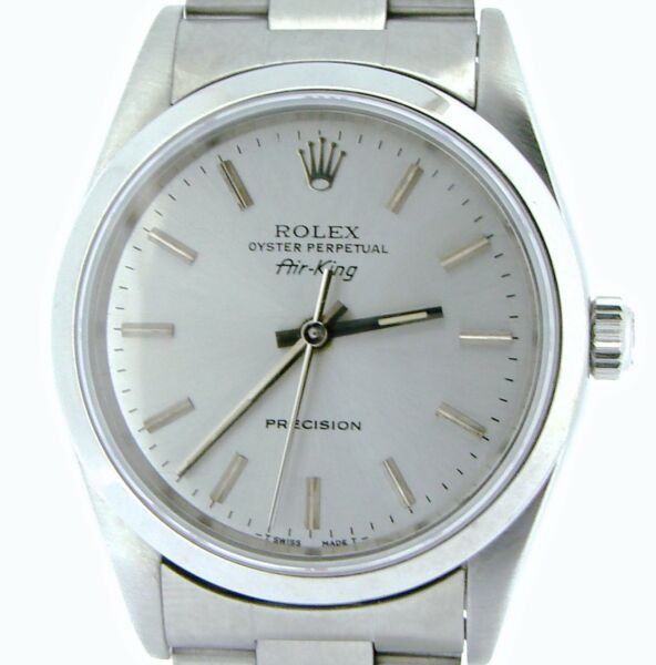 Rolex Air King Mens Stainless Steel Watch Oyster Band Silver Dial No Holes 14000