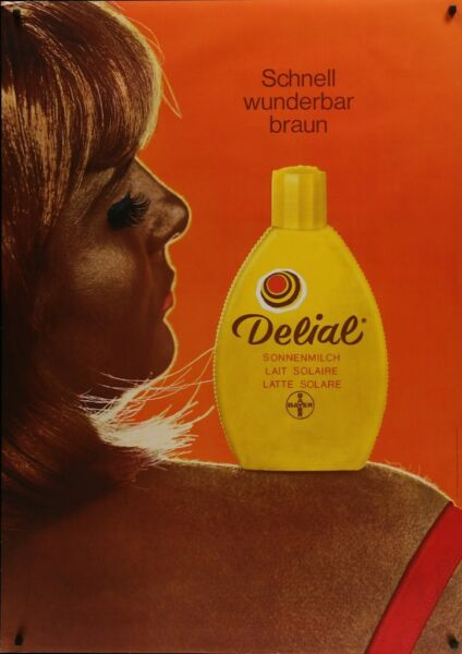 DELIAL tanning sun lotion styleB Vintage 1969 advertising poster 36x51 RARE NM $450.00