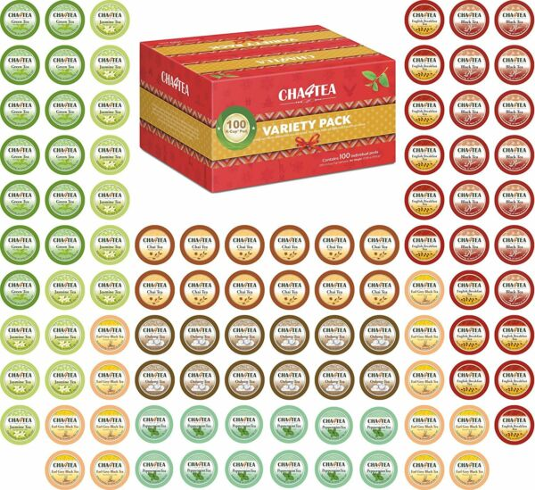 Cha4TEA 100 K Cups Tea Variety Green Black Jasmine Earl Grey English Chai Oolong