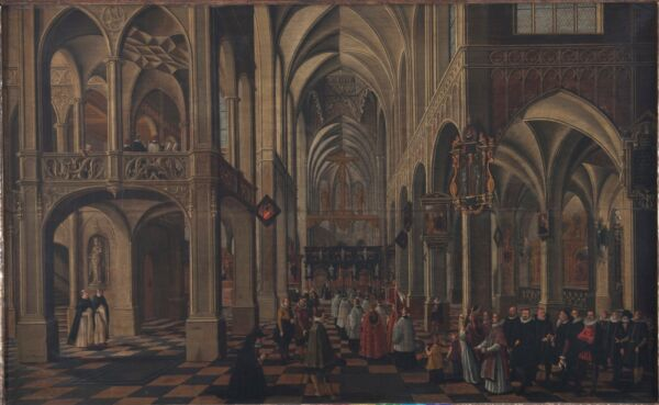 Bartholomeus van Bassen Church interior with a procession oil on wood
