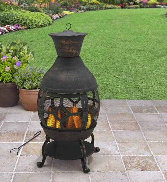 Outdoor Fireplace Chiminea Wood Burning Patio Cast Iron Fire Pit Black New