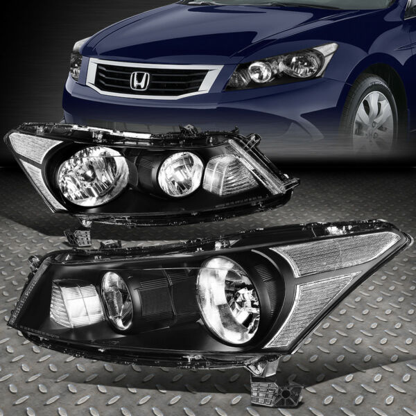 FOR 08 12 HONDA ACCORD SEDAN BLACK HOUSING CLEAR CORNER HEADLIGHT HEAD LAMPS
