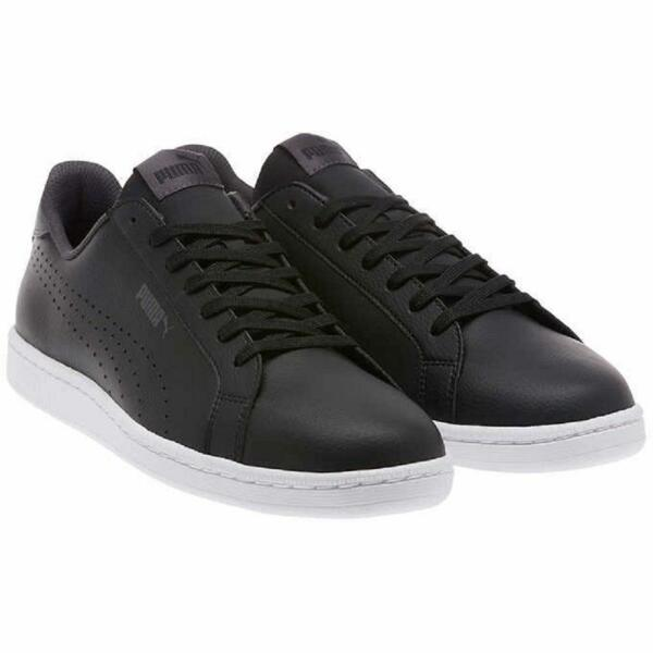 PUMA Men's Smash Leather Classic Sneaker - Black New!
