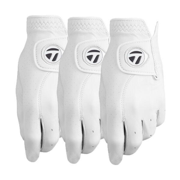 TaylorMade Tour Preferred Custom Leather White Golf Gloves 3-Pack - Pick Size