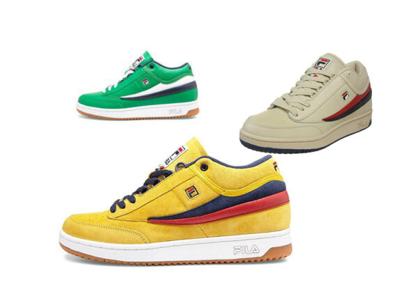 Fila Men's T-1 Green Tennis Sneakers Classic 80s Style Shoes JYBN/WHT/FNVY Retro