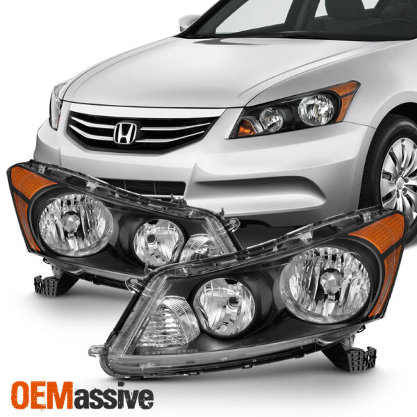 Fit 2008 2012 Honda Accord 4 Door Sedan Black Headlights LR Lamp Replacement