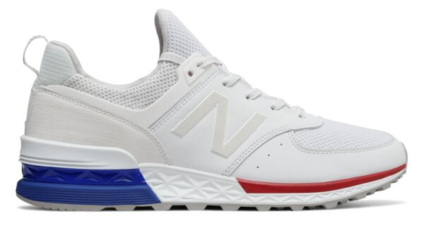 New Balance Men's 574 Sport Shoes White with Blue