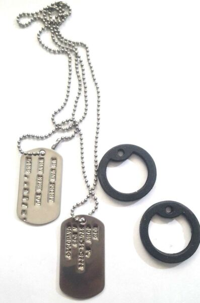 MILITARY PERSONALIZED DOG TAGS BALL CHAIN amp; SILENCERS OFFICIAL GI ARMY USMC $8.98