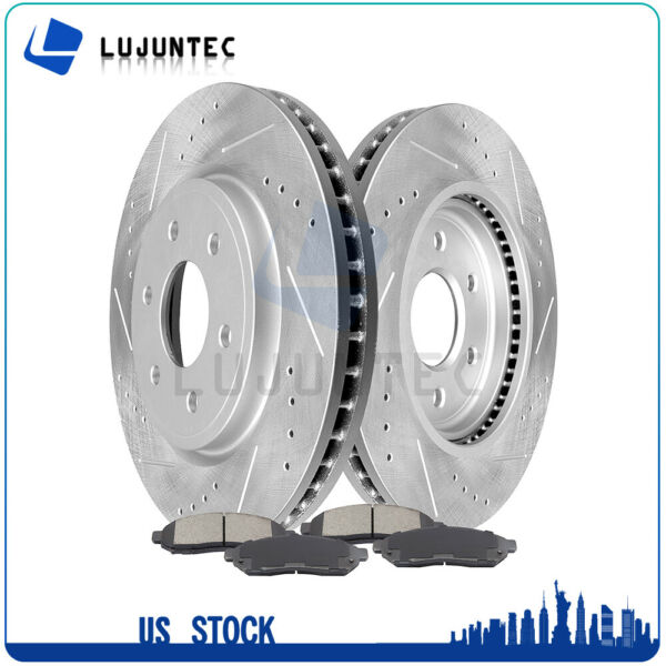 Front Brake Discs Rotors and Ceramic Pads For Frontier Pathfinder Xterra Equator