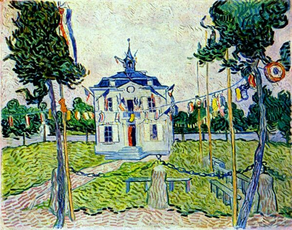 Vincent van Gogh Auvers Town Hall 1890 Hand Painted Canvas Oil Painting