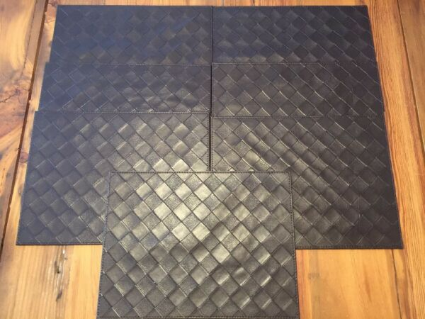 Dark Brown Faux Woven Leather Stamped Texture Placemats Set of 7