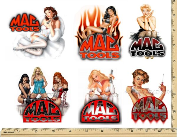 MAC TOOLS STICKER SET of 6 GLOSSY DECALS MECHANIC TOOL BOX SEXY PINUP GIRLS USA