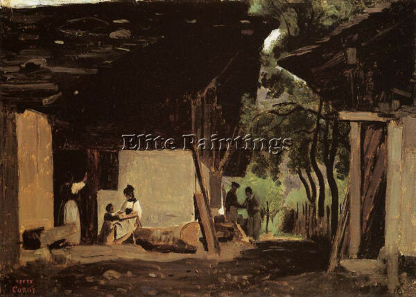 COROT ENTRANCE CHALET BERNESE OBERLAND ARTIST PAINTING OIL CANVAS REPRO ART DECO