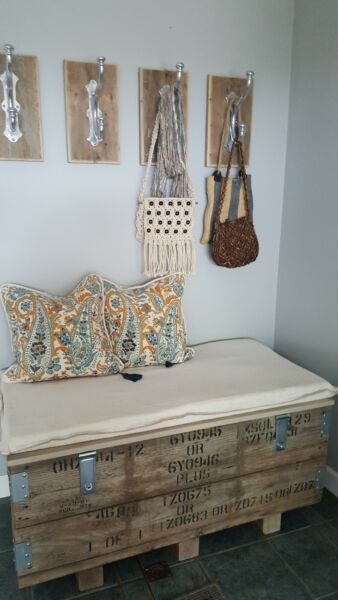 Vintage Wooden Crate Bench -  Storage Decor Entrance Foot Of Bed