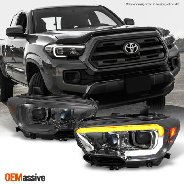 Fits 2016-2018 Toyota Tacoma SR/SR5 Sequential Smoked LED Projector Headlights