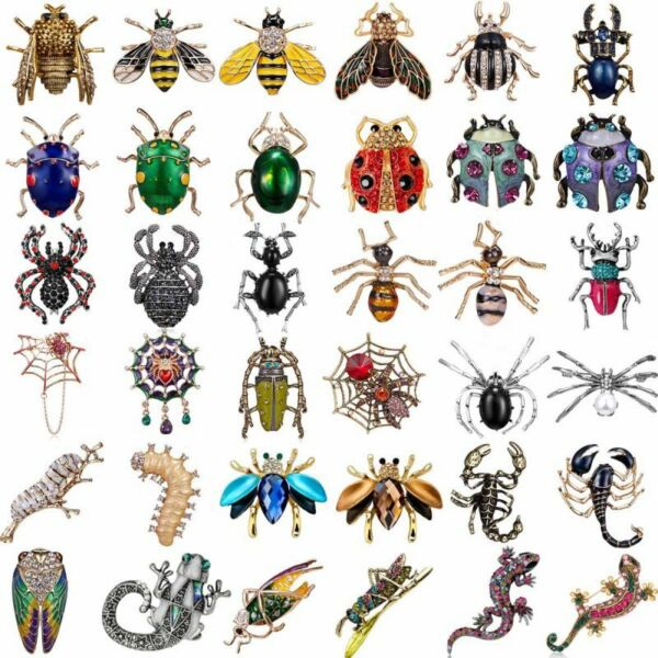 Women Men Crystal Pearl Insect Scorpion Bee Beetle Caterpillar Brooch Pin Gifts
