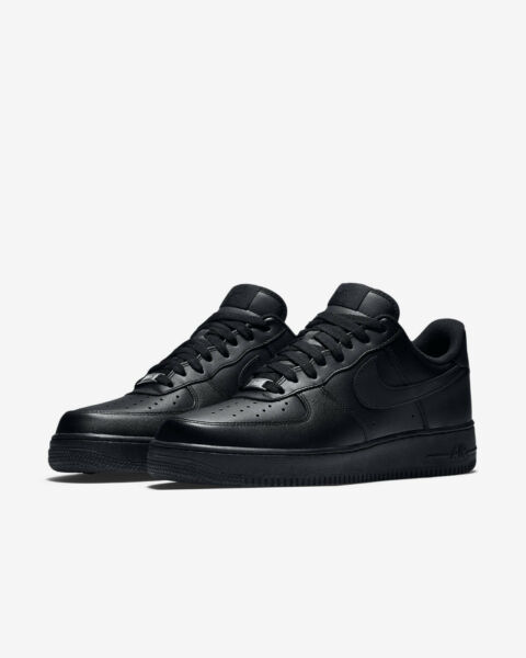NIKE Air Force 1 One '07 Men's Low Casual Black Leather Shoes New Size 10.5