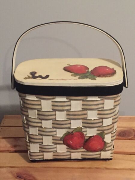 Vintage Wooden Bucket Box Purse W Handle Apples & Worm Black Off White Red