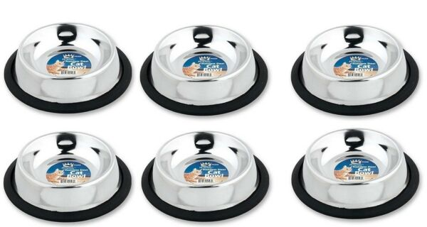 6 Pk Pet King Stainless Steel Cat Bowls Small Dog Water Food No Tip Bowls 6 oz