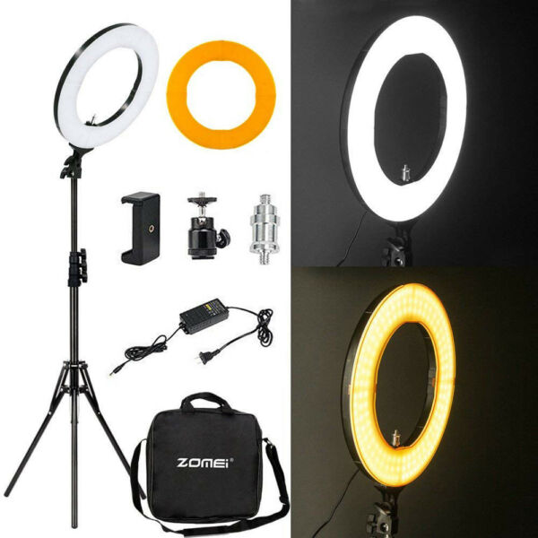 14'' Dimmable 5500K SMD LED Ring Light Kit with Stand for Makeup Phone Camera