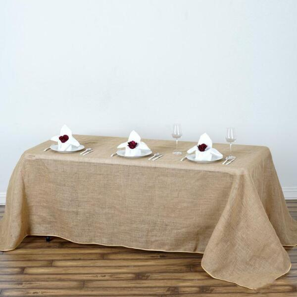 Natural BURLAP 90x132quot; Rectangle TABLECLOTH Country Wedding Party Catering Linen