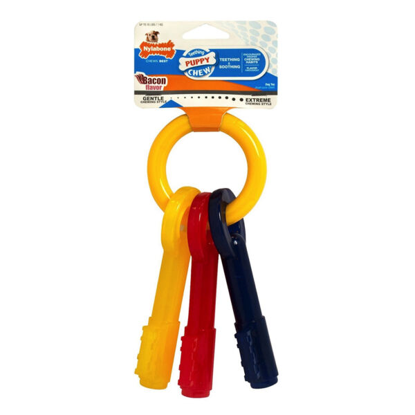 Nylabone Puppy Teething Key Ring X-Small  Bacon Flavored Chew Toy for Dogs