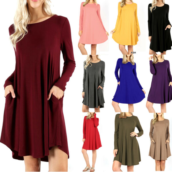 Women's Long Sleeve Dress with Side Pockets Fall Tunic T-Shirt Swing Soft Casual
