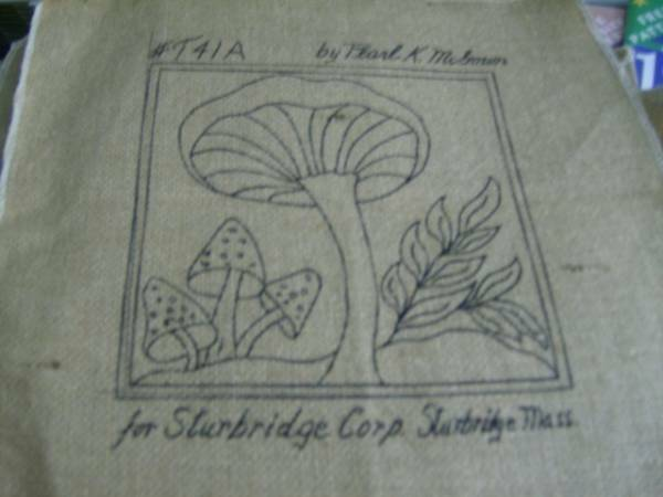 Pearl McGown Mushroom Rug Hooking Burlap Cloth 6.5x6.5 Inches Your Choice T41